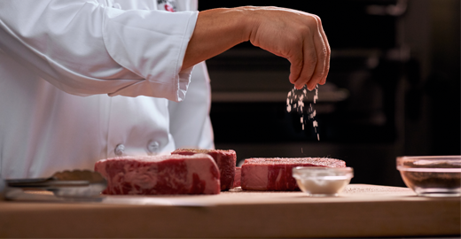 preparing a new York strip steak
