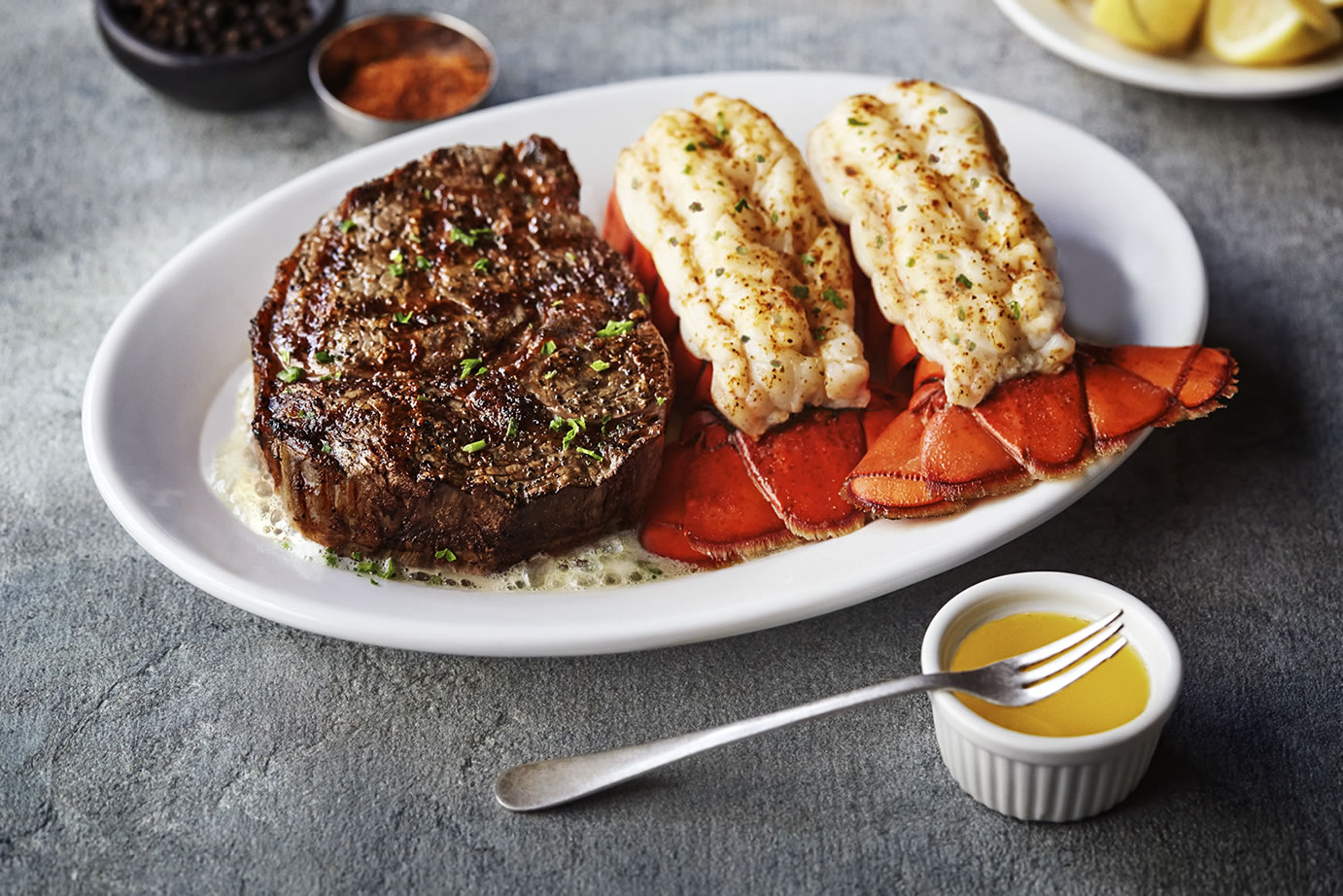 16 oz. Ribeye and Twin Lobster Tails